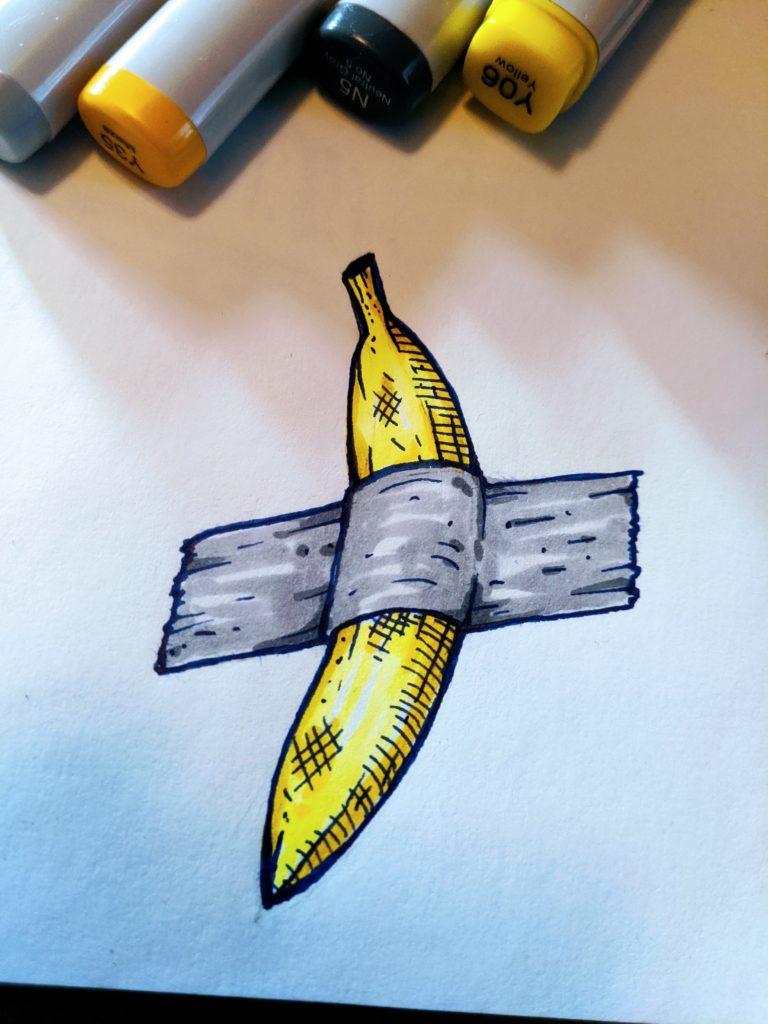 duct tape banana art